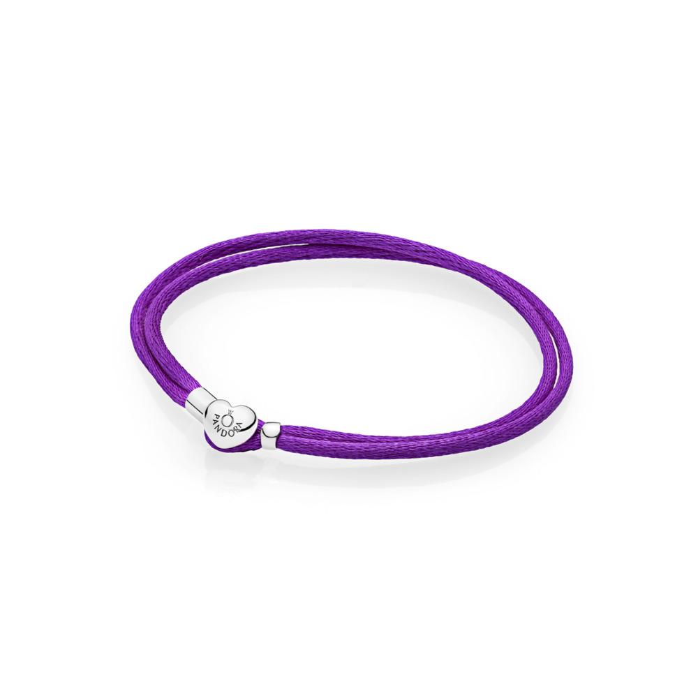 Fabric Cord Bracelet, Purple, Sterling silver, Textile/ synthetical fibers, Purple - PANDORA - #590749CPE-S