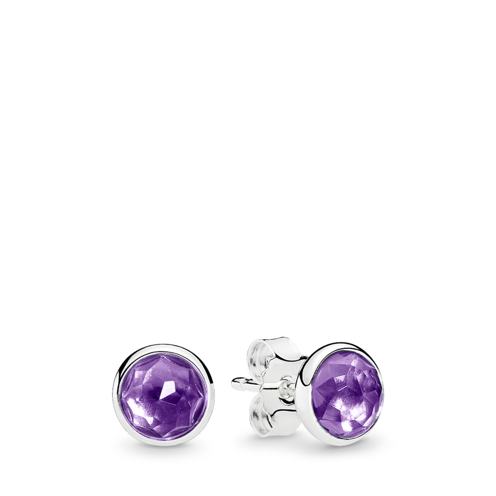 February Droplets, Synthetic Amethyst, Sterling silver, Purple, Synthetic Amethyst - PANDORA - #290738SAM