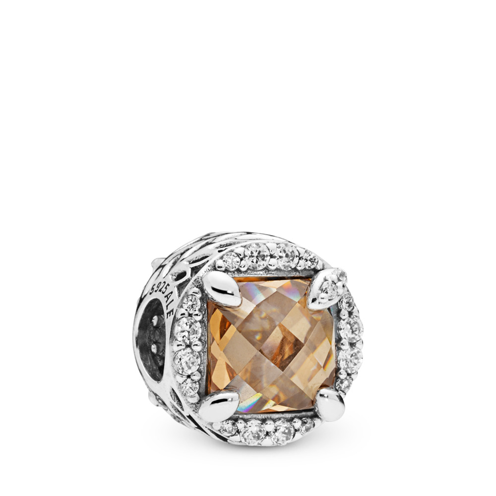 Radiant Grains of Energy Charm, Clear & Golden coloured CZ, Sterling silver, Gold, Cubic Zirconia - PANDORA - #797650CCZ