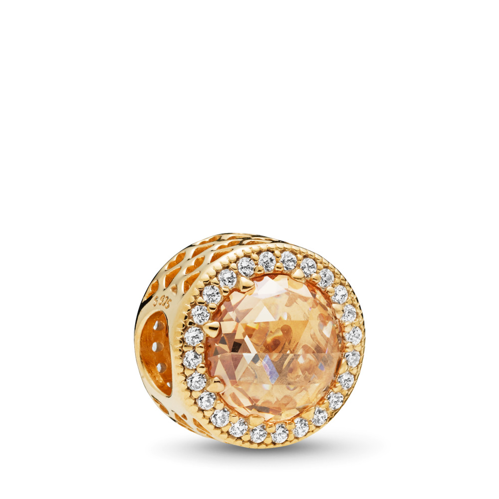 Radiant Hearts Charm, PANDORA Shine™ & Multi-coloured CZ, 18ct gold-plated sterling silver, Gold, Cubic Zirconia - PANDORA - #761725CLG