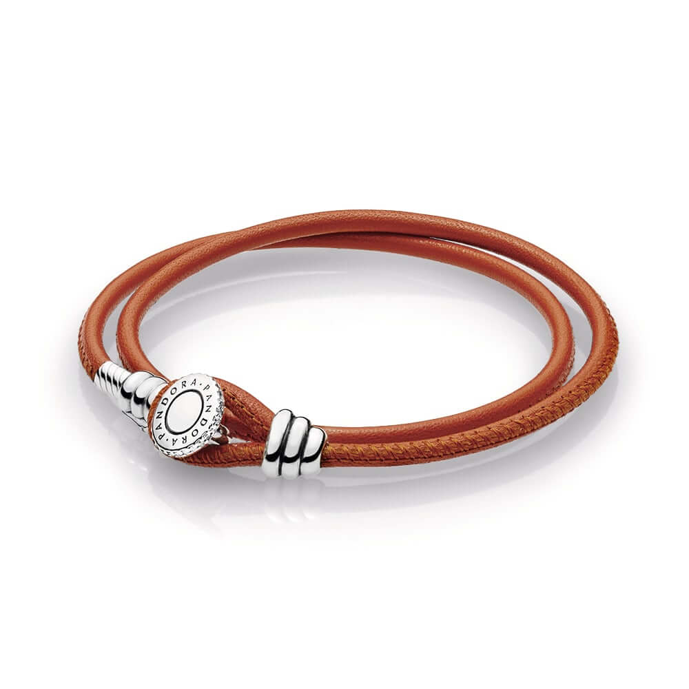 Limited Edition Spicy Orange Double Leather Bracelet, Clear CZ
