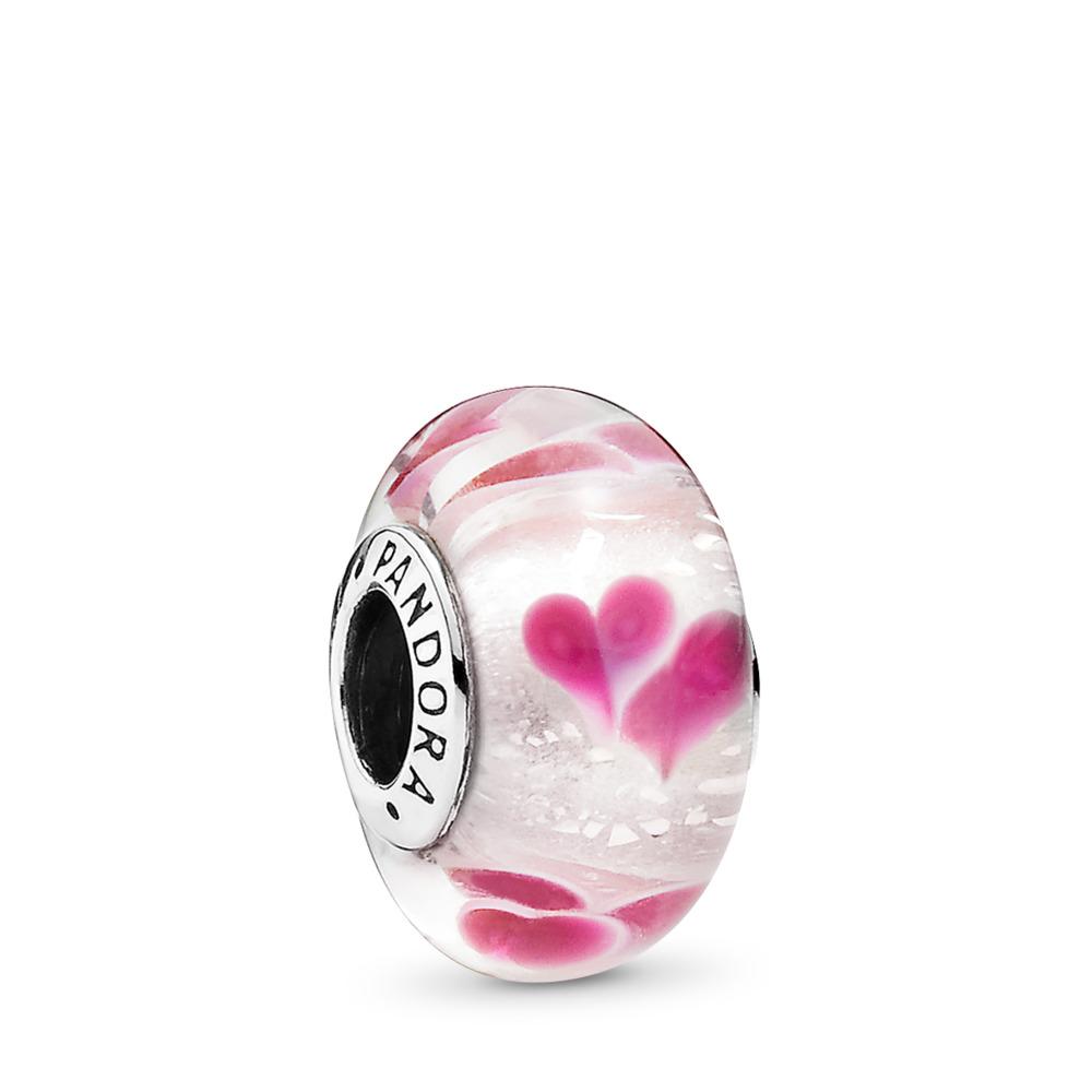 Wild Hearts, Sterling silver, Glass, Pink - PANDORA - #791649