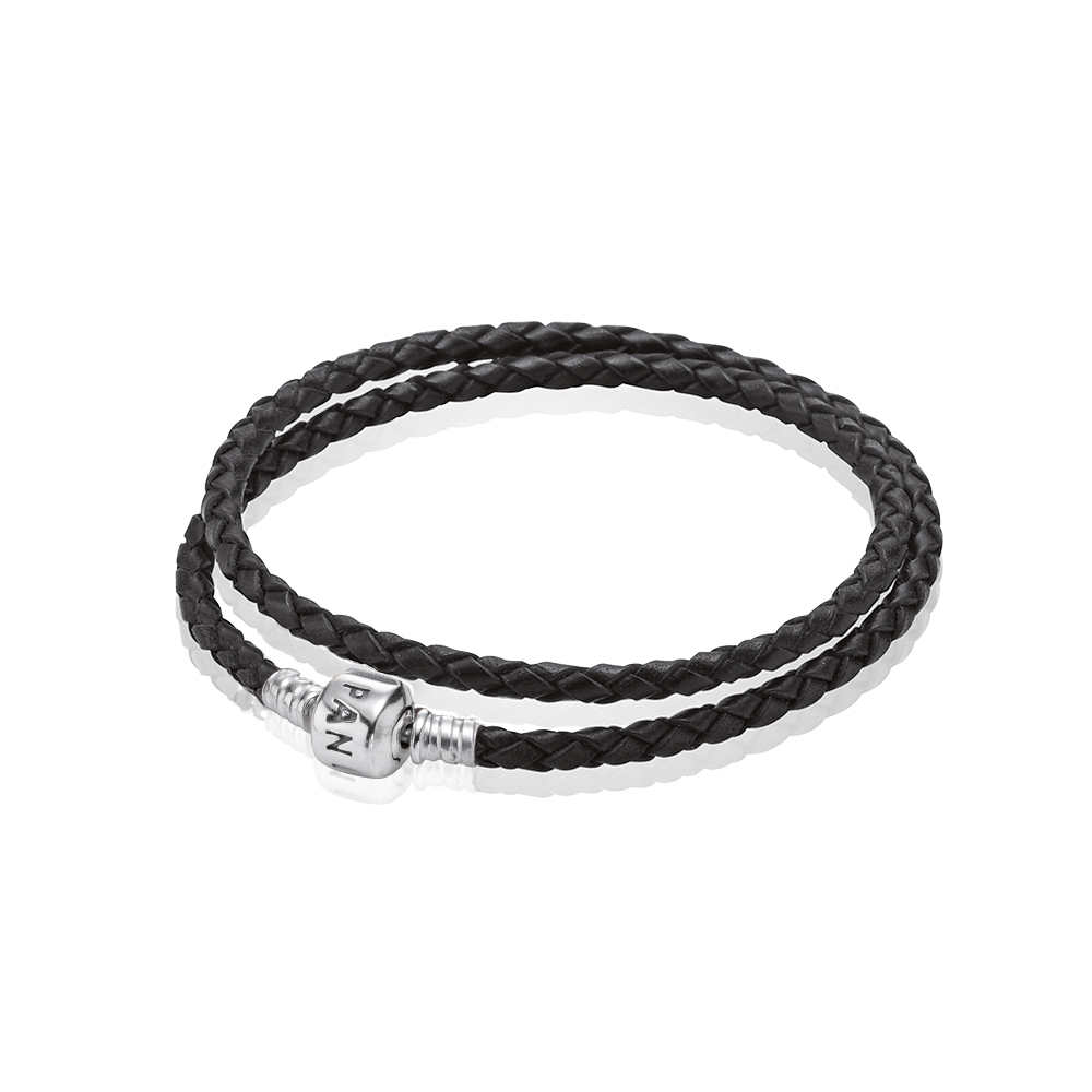 Black Braided Double-Leather Charm Bracelet