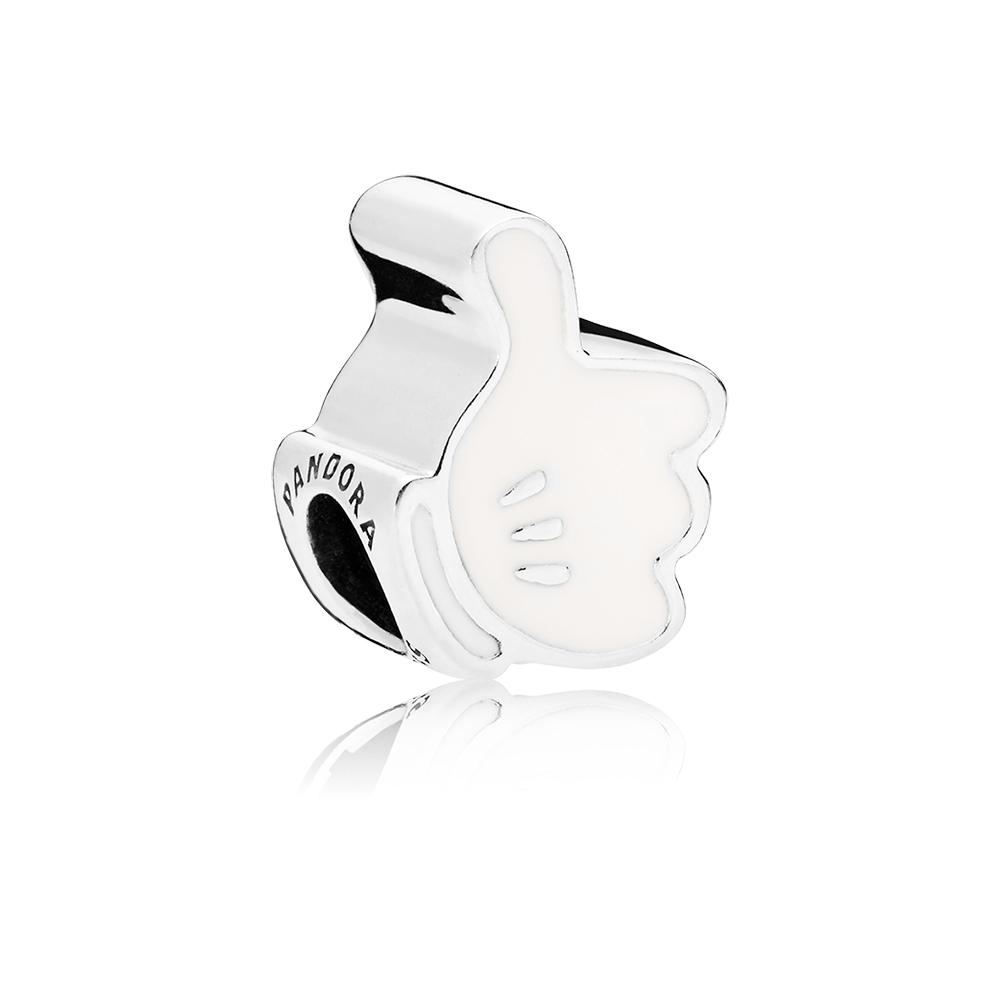 Charm Disney, gant emblématique de Mickey, émail blanc