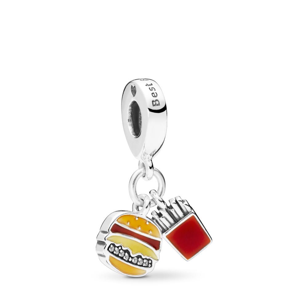 Charm pendentif Burger et frites, émail rouge, doré et jaune, Argent sterling, émail, Orange, Zircon cubique - PANDORA - #797211ENMX