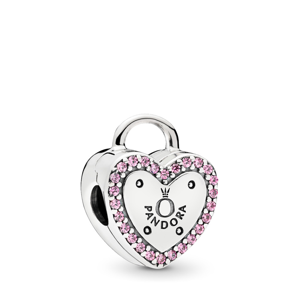 Lock Your Promise Clip, Fancy Fuchsia Pink CZ, Sterling silver, Pink, Cubic Zirconia - PANDORA - #796556FPC