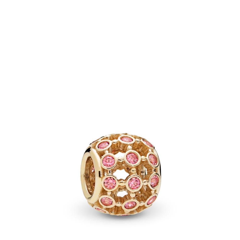 Charm ajouré En vedette, or 14ct et cz rose de fantaisie, Or jaune 14 ct, Aucun autre matériel, Rose, Zircon cubique - PANDORA - #750825CZS