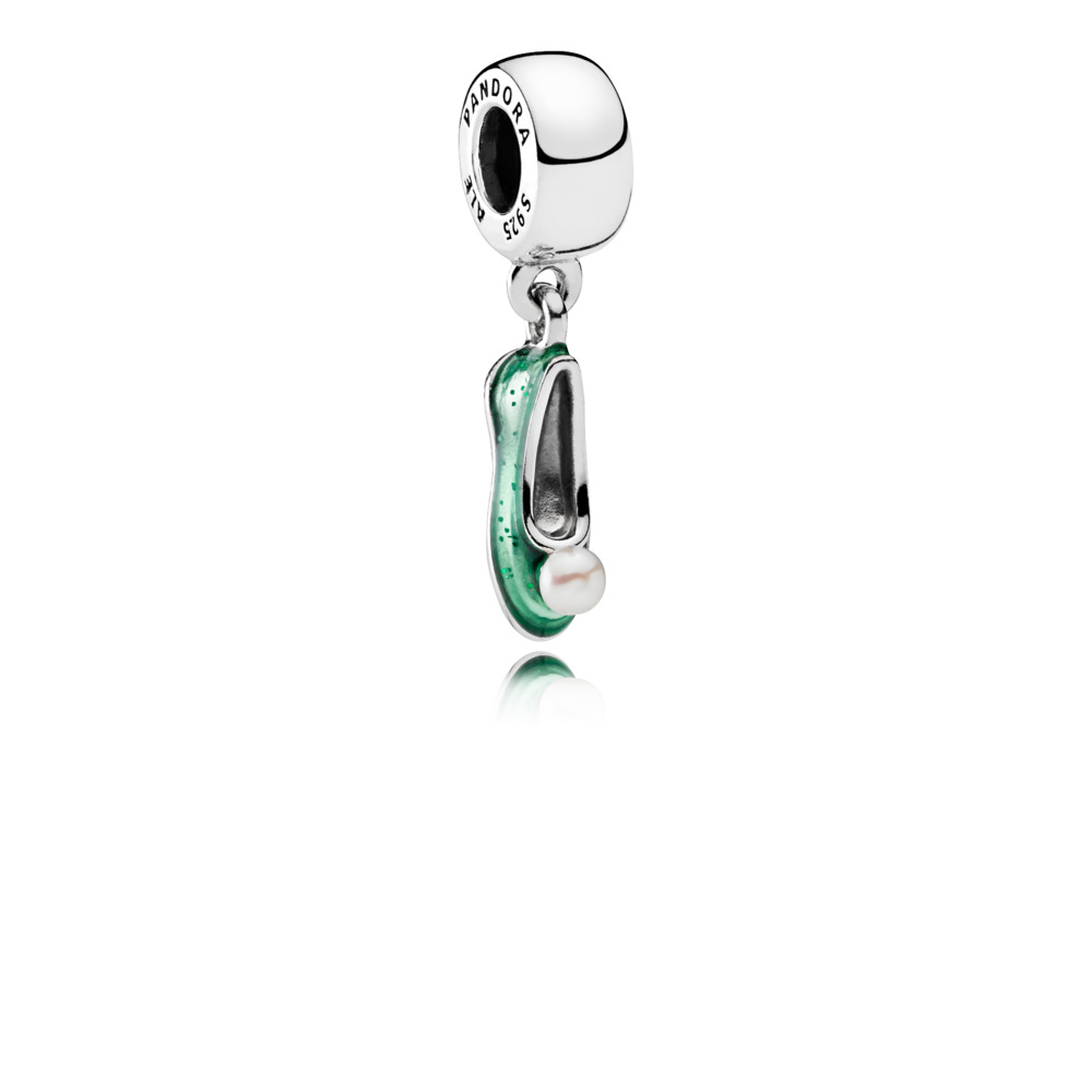 Disney, chaussure de la fée Clochette, Argent sterling, émail, Vert, Perle de culture d'eau douce - PANDORA - #792139EN93