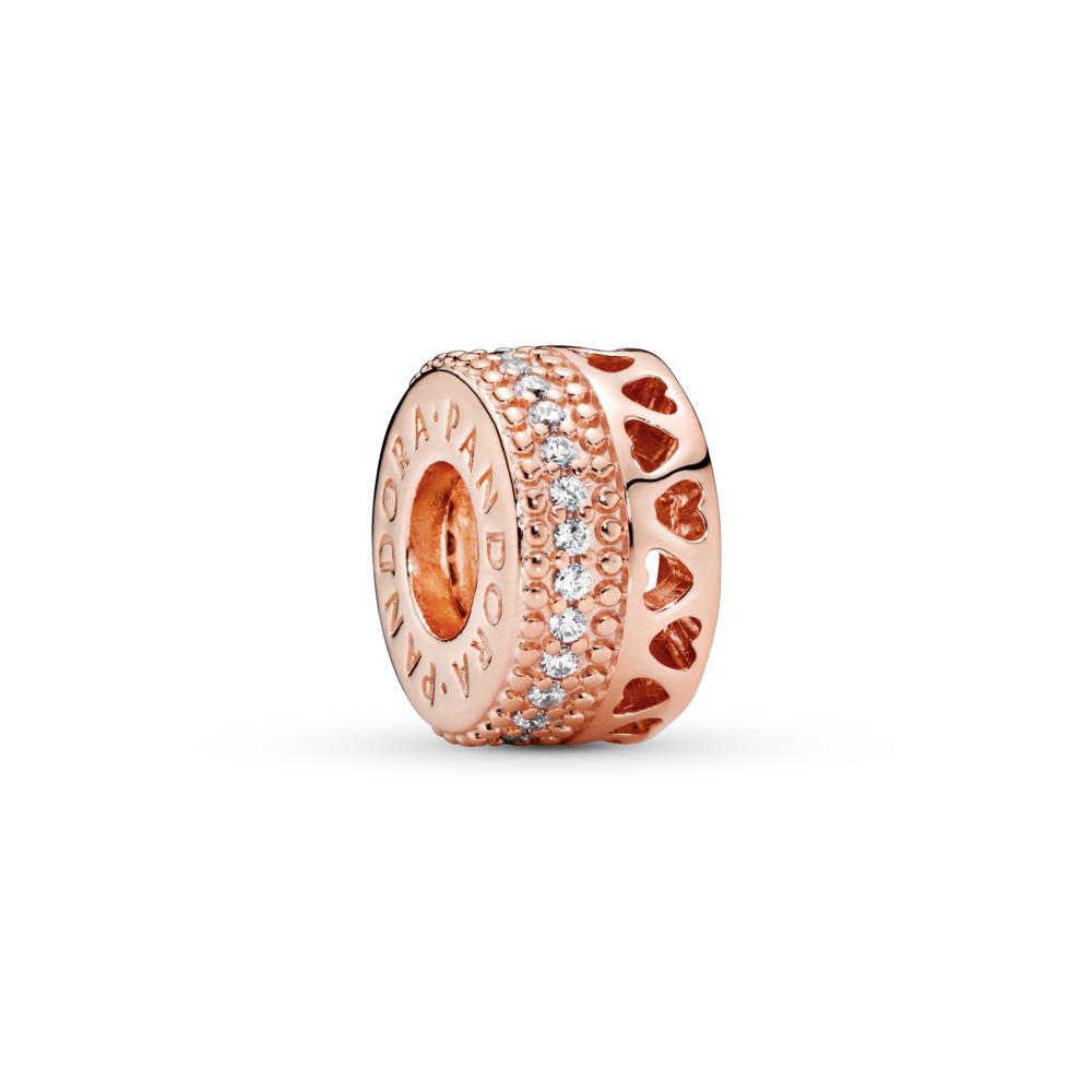 Hearts of PANDORA Charm, PANDORA Rose™ & Clear CZ, PANDORA Rose, Cubic Zirconia - PANDORA - #787415CZ