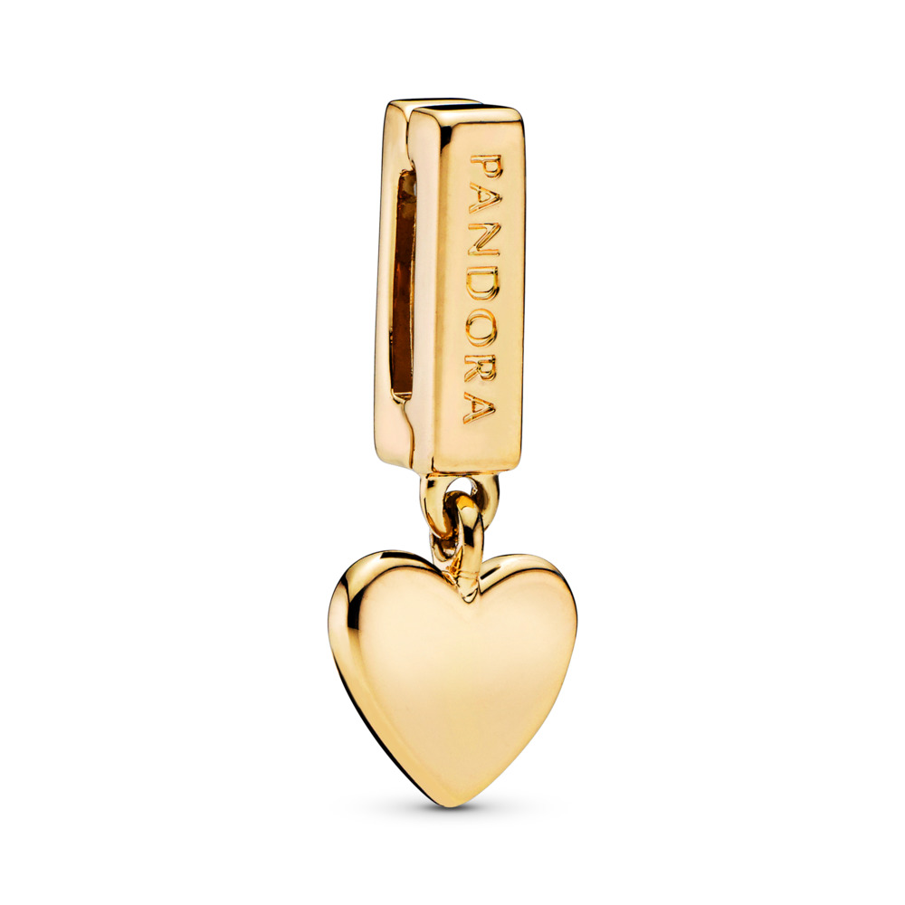 PANDORA Reflexions™ Floating Heart Charm, PANDORA Shine™, 18ct gold-plated sterling silver, Silicone - PANDORA - #767643