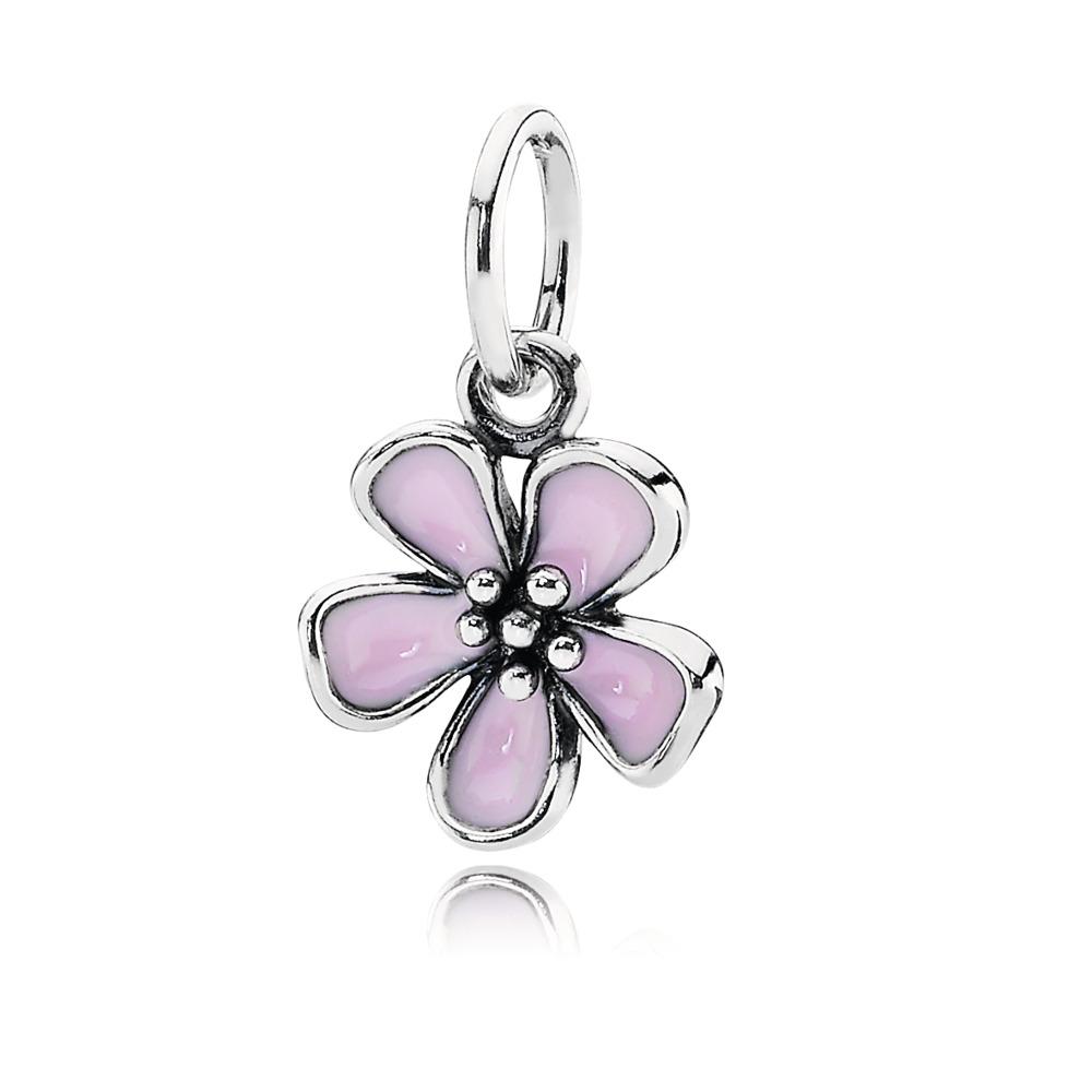 Cherry Blossom Pendant, Pink Enamel