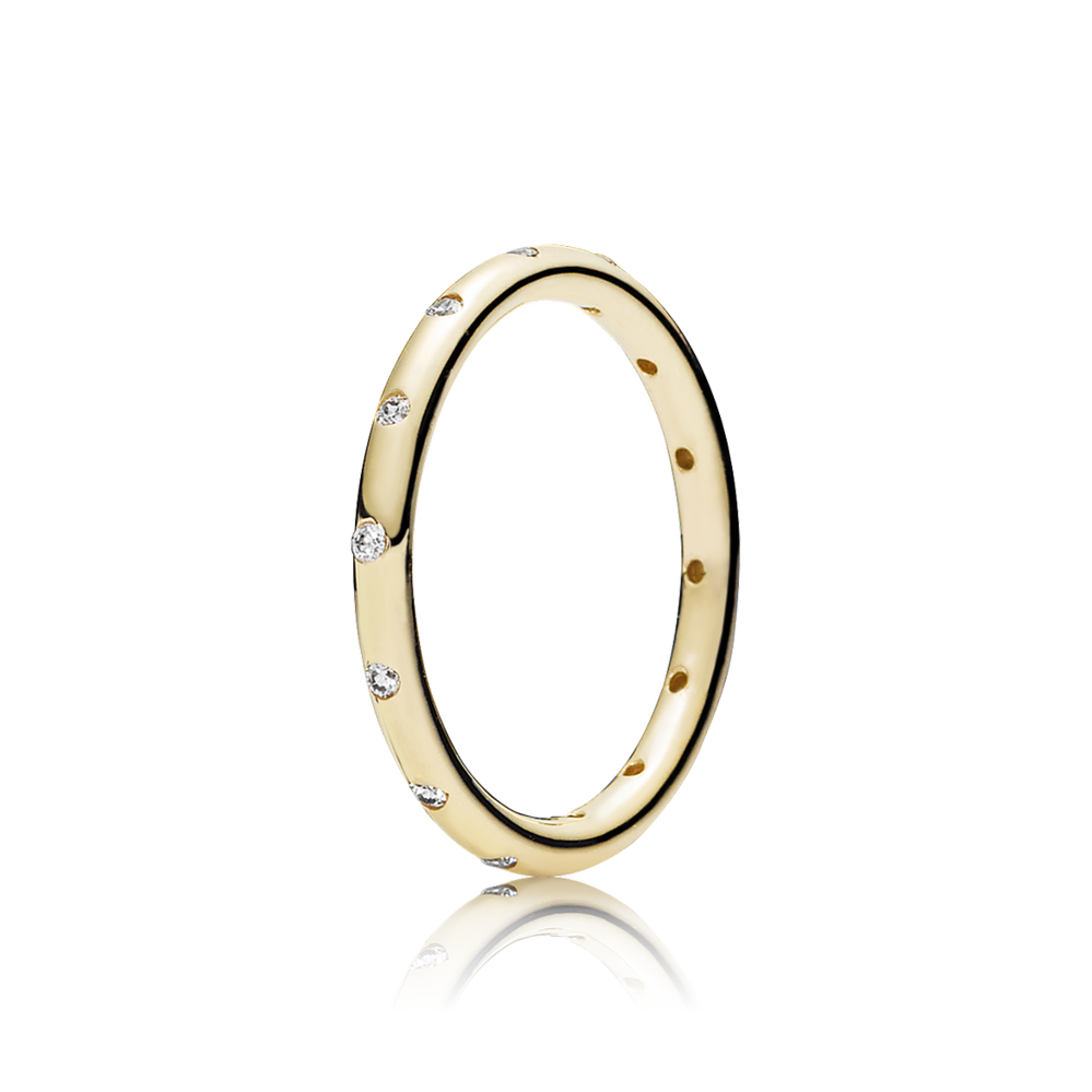 Droplets Stackable Ring, Polished 14K Gold & CZ