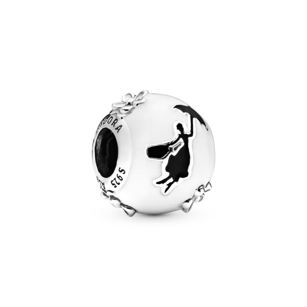 Disney, Mary Poppins Silhouette Charm, Sterling silver, Enamel, Black - PANDORA - #797510ENMX