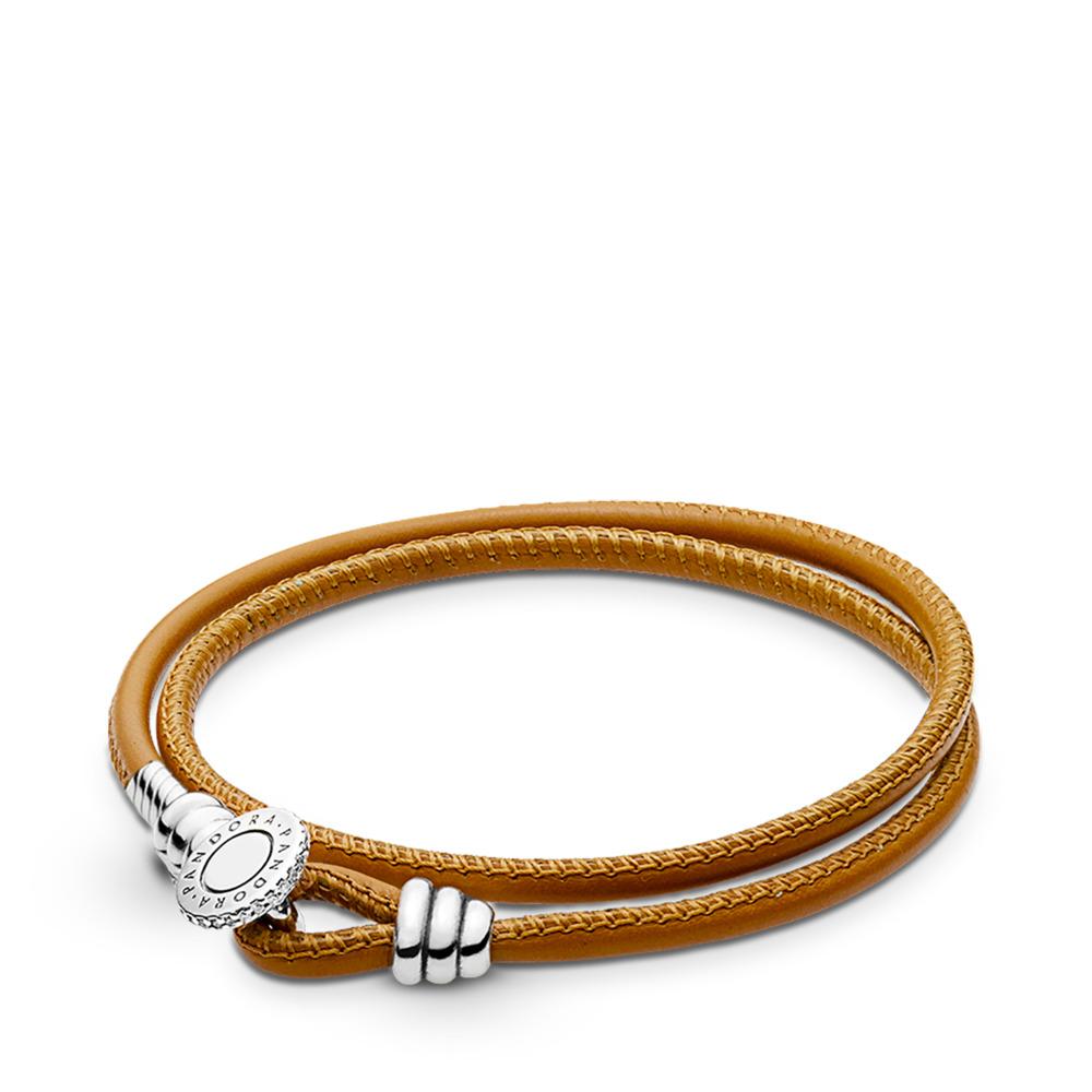 Double bracelet en cuir beige doré, cz incolore, Argent sterling, Cuir, Brun, Zircon cubique - PANDORA - #597194CGT-D