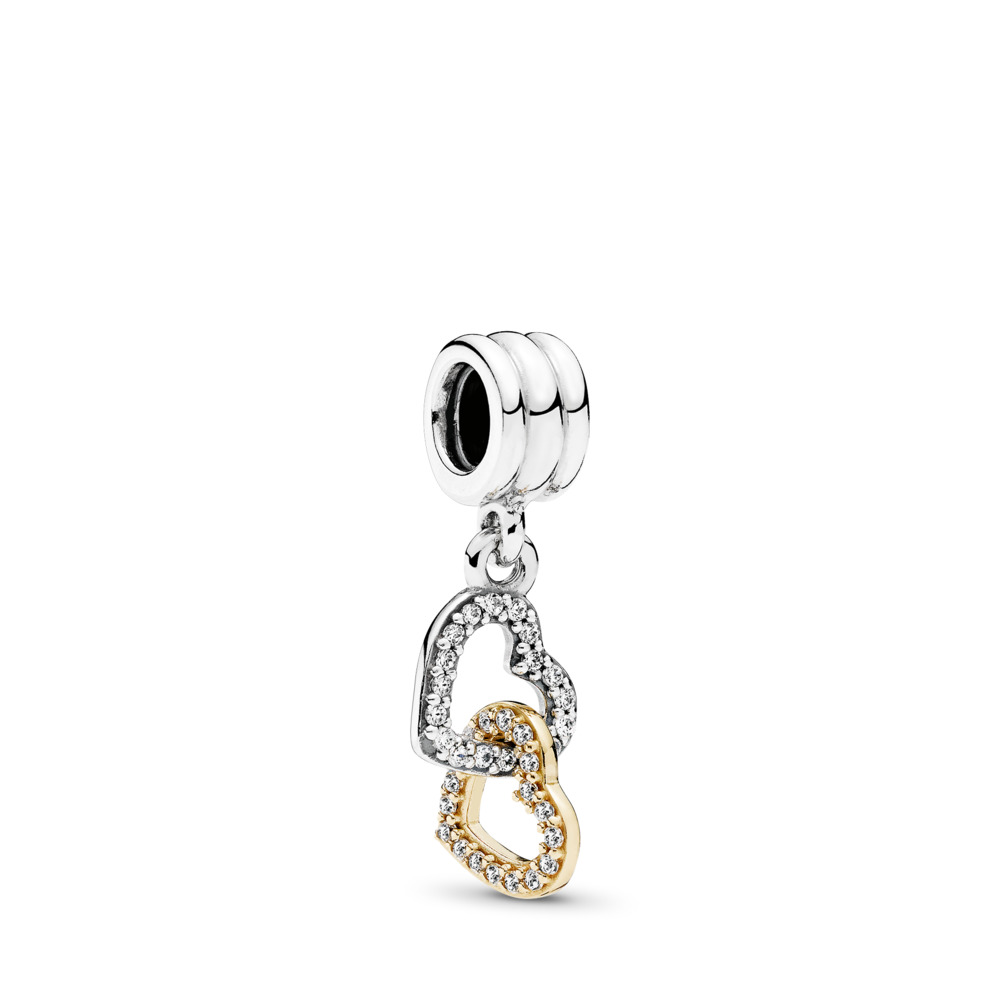 Interlocked Hearts, Two Tone, Cubic Zirconia - PANDORA - #792068CZ