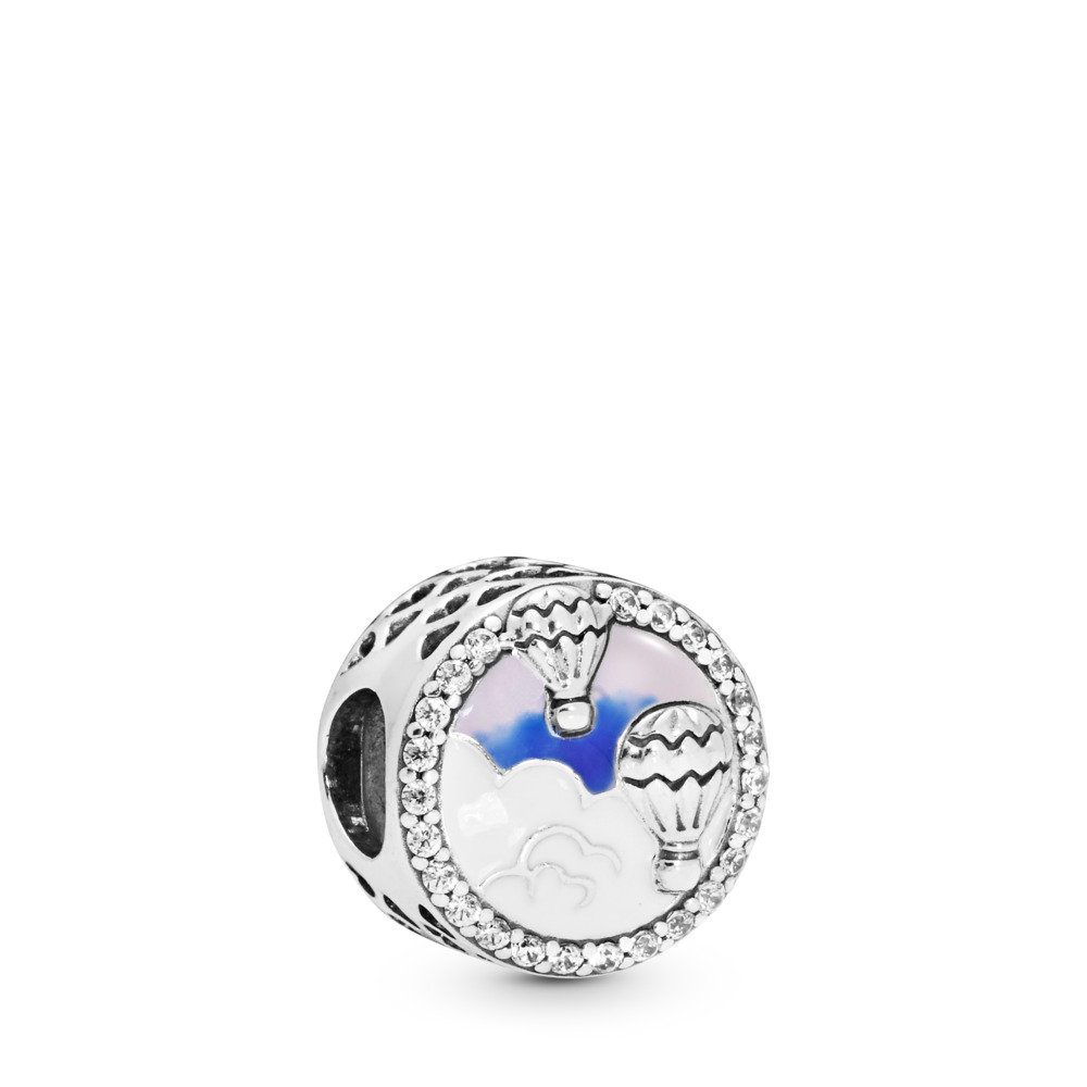 Hot Air Balloon Trip Charm, Sterling silver, Enamel, Pink, Cubic Zirconia - PANDORA - #798061CZ