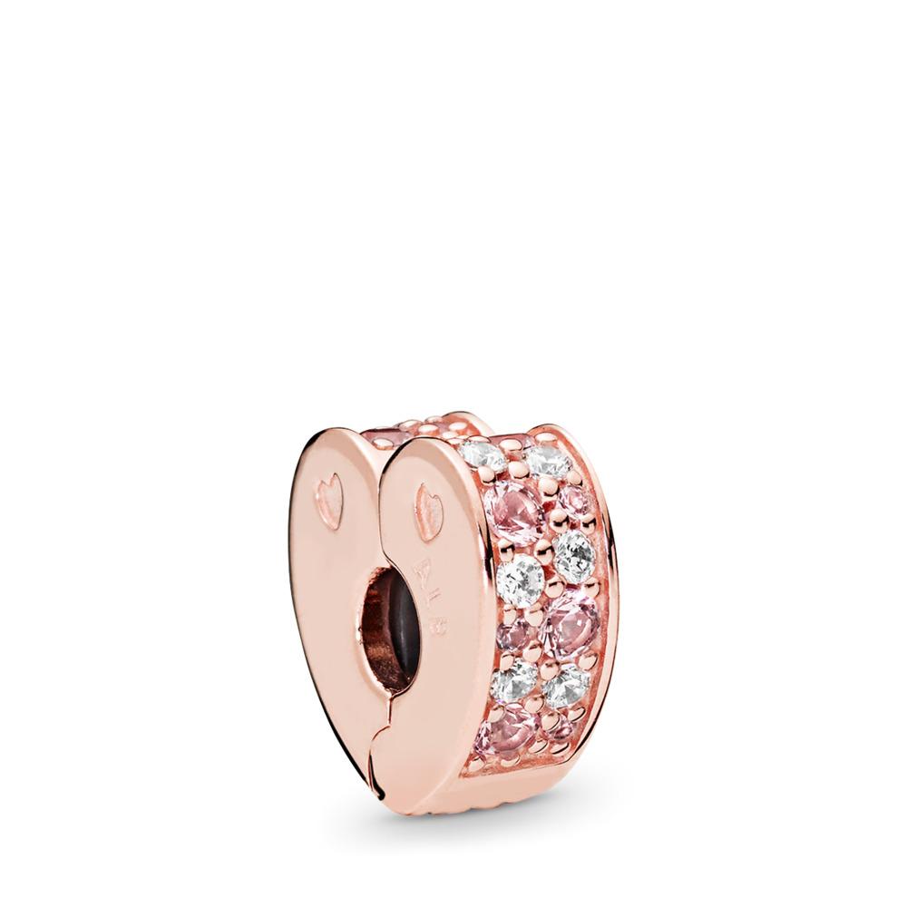 Clip Arcs d'amour, PANDORA Rose, cristaux rose léger et roses, cz incolore, PANDORA ROSE, Silicone, Rose, Pierres mélangées - PANDORA - #787020NPM