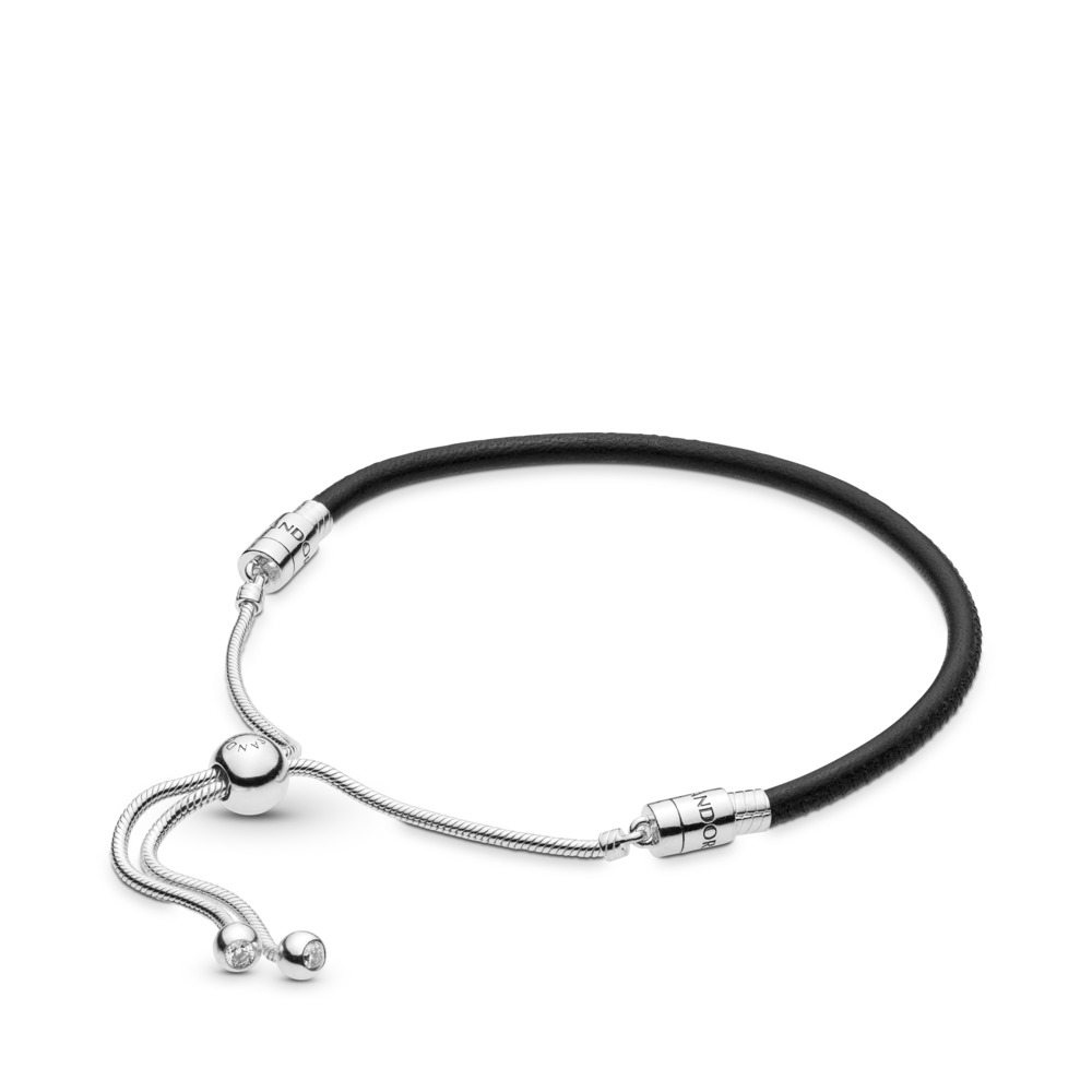 Sliding Black Leather Bracelet, Clear CZ, Sterling silver, Leather, Black, Cubic Zirconia - PANDORA - #597225CBK