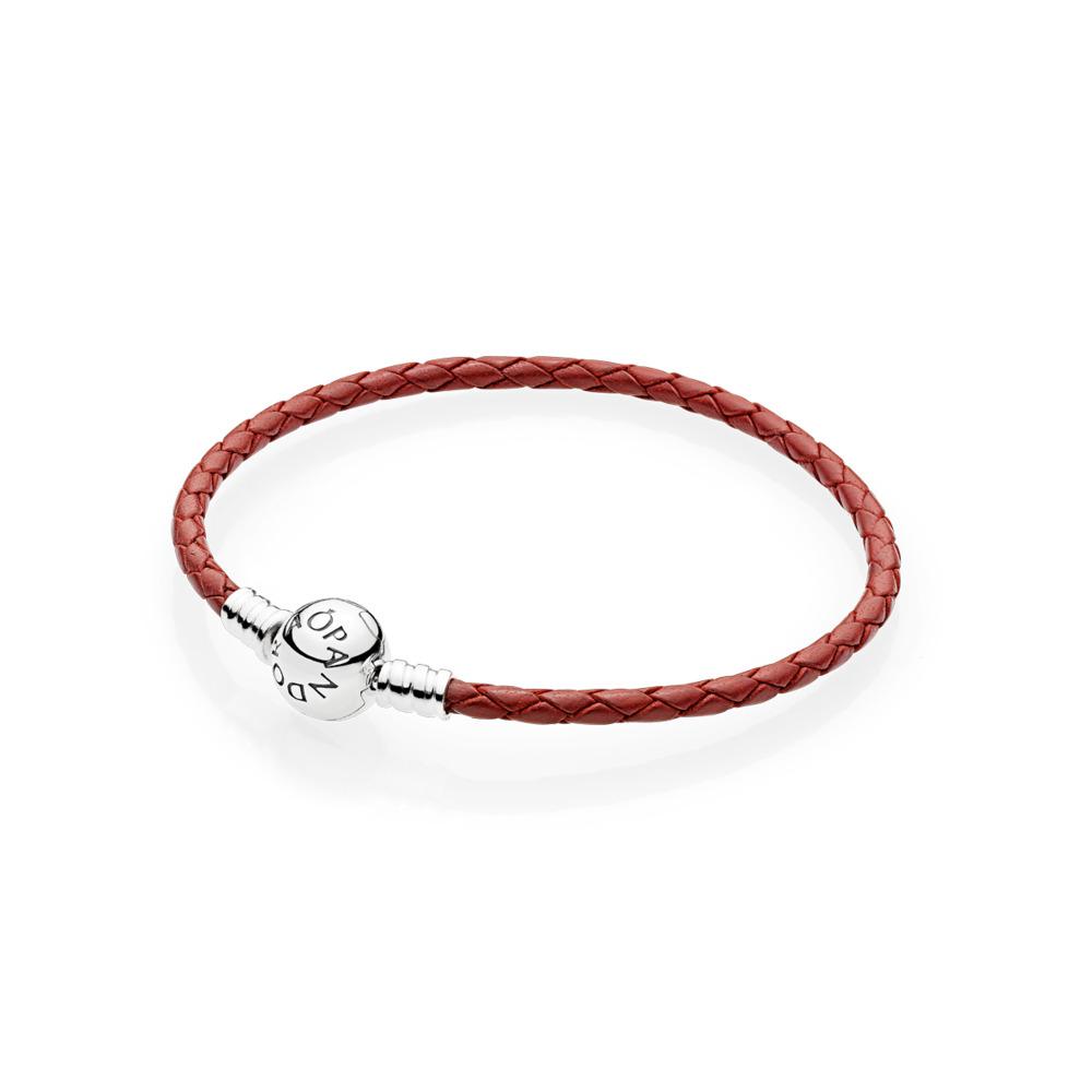 Bracelet à charm en cuir tissé  rouge, Argent sterling, Cuir, Rouge, Aucune pierre - PANDORA - #590745CRD-S