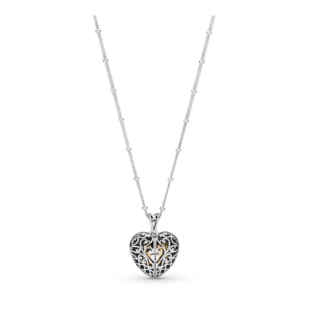Collier Porte de l'amour, PANDORA Shine and sterling silver, Silicone, Aucune couleur, Aucune pierre - PANDORA - #367734