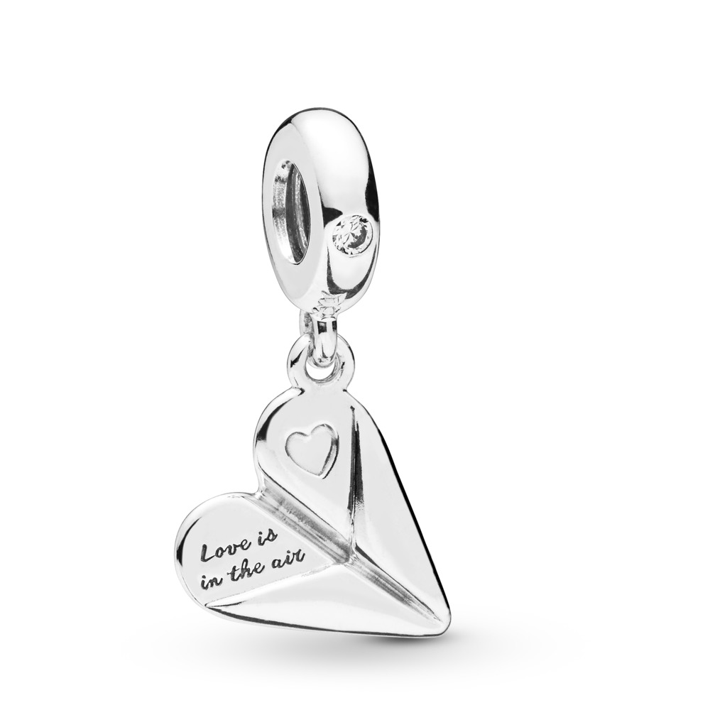 Heart Paper Plane Dangle Charm, Sterling silver, Cubic Zirconia - PANDORA - #797876CZ