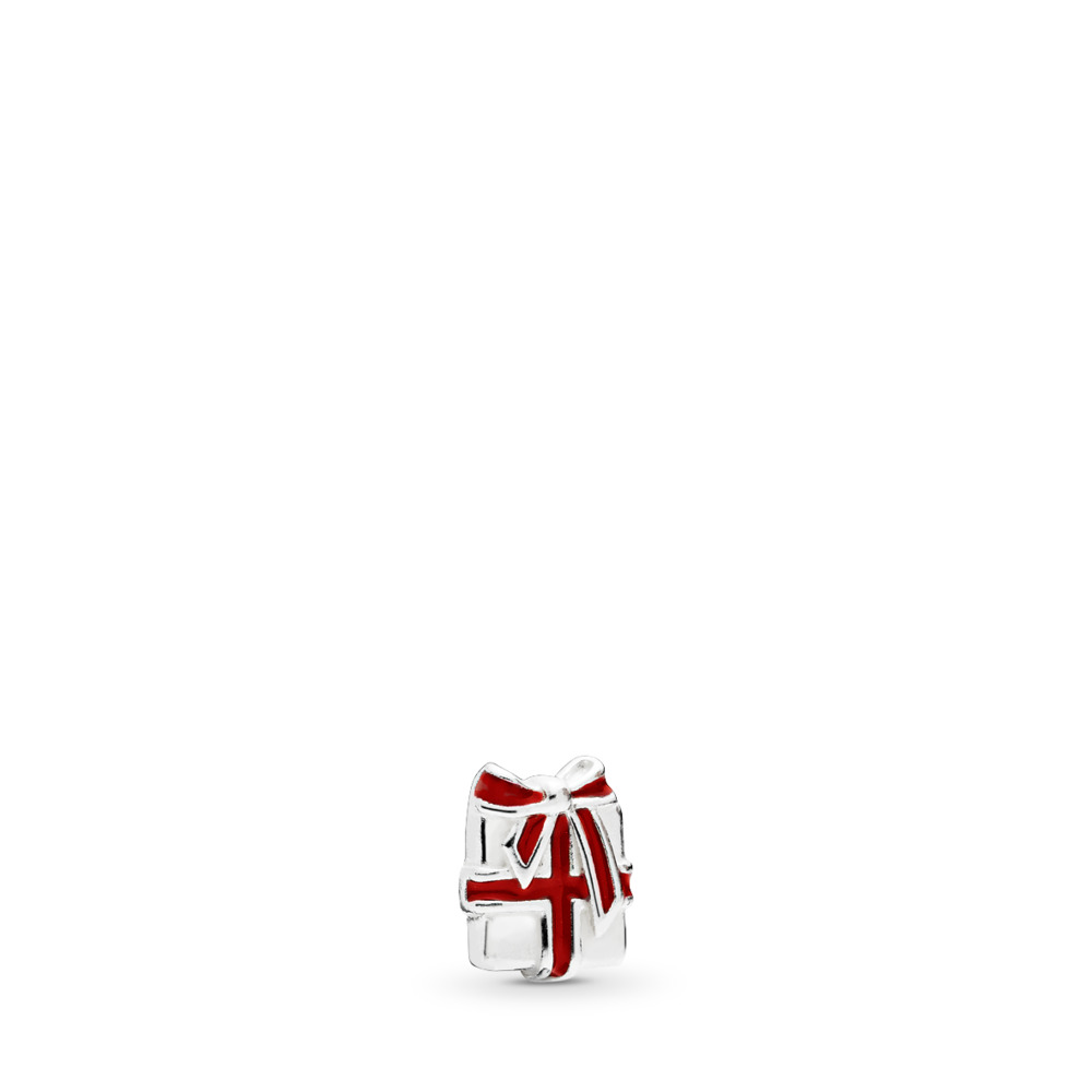 Mini Cadeau d'amour, émail rouge baie, Argent sterling, émail, Rouge, Aucune pierre - PANDORA - #796396EN39