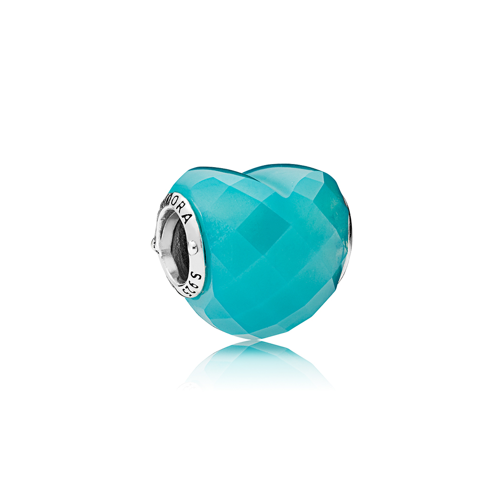 Shape of Love Charm, Scuba Blue Crystal