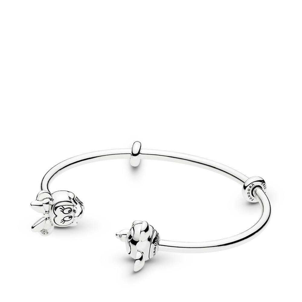 Disney Mickey & Minnie Open Bangle Charm Bracelet, Sterling silver, Silicone - PANDORA - #597494
