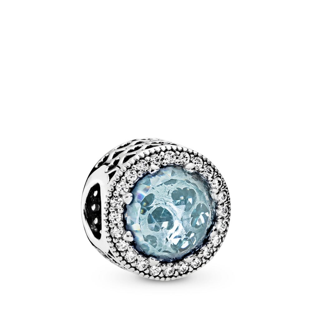 Radiant Hearts, Glacier-Blue Crystals & Clear CZ, Sterling silver, Blue, Mixed stones - PANDORA - #791725NGL
