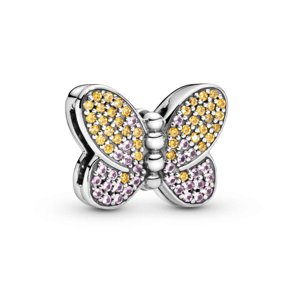 Pandora Reflexions™ Bedazzling Butterfly Charm, Sterling silver, Silicone, Pink, Mixed stones - PANDORA - #797864CZM