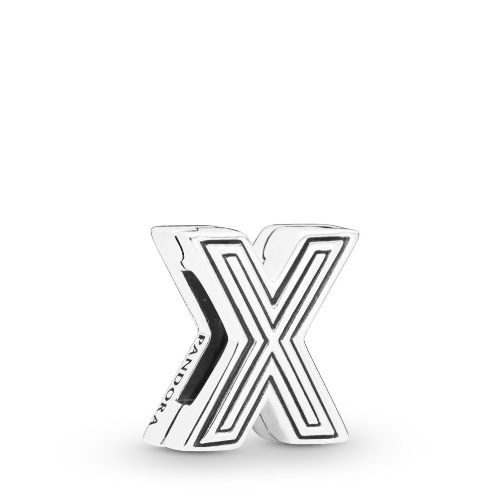 Charm Lettre X Pandora Reflexions, Argent sterling, Silicone, Aucune couleur, Aucune pierre - PANDORA - #798220
