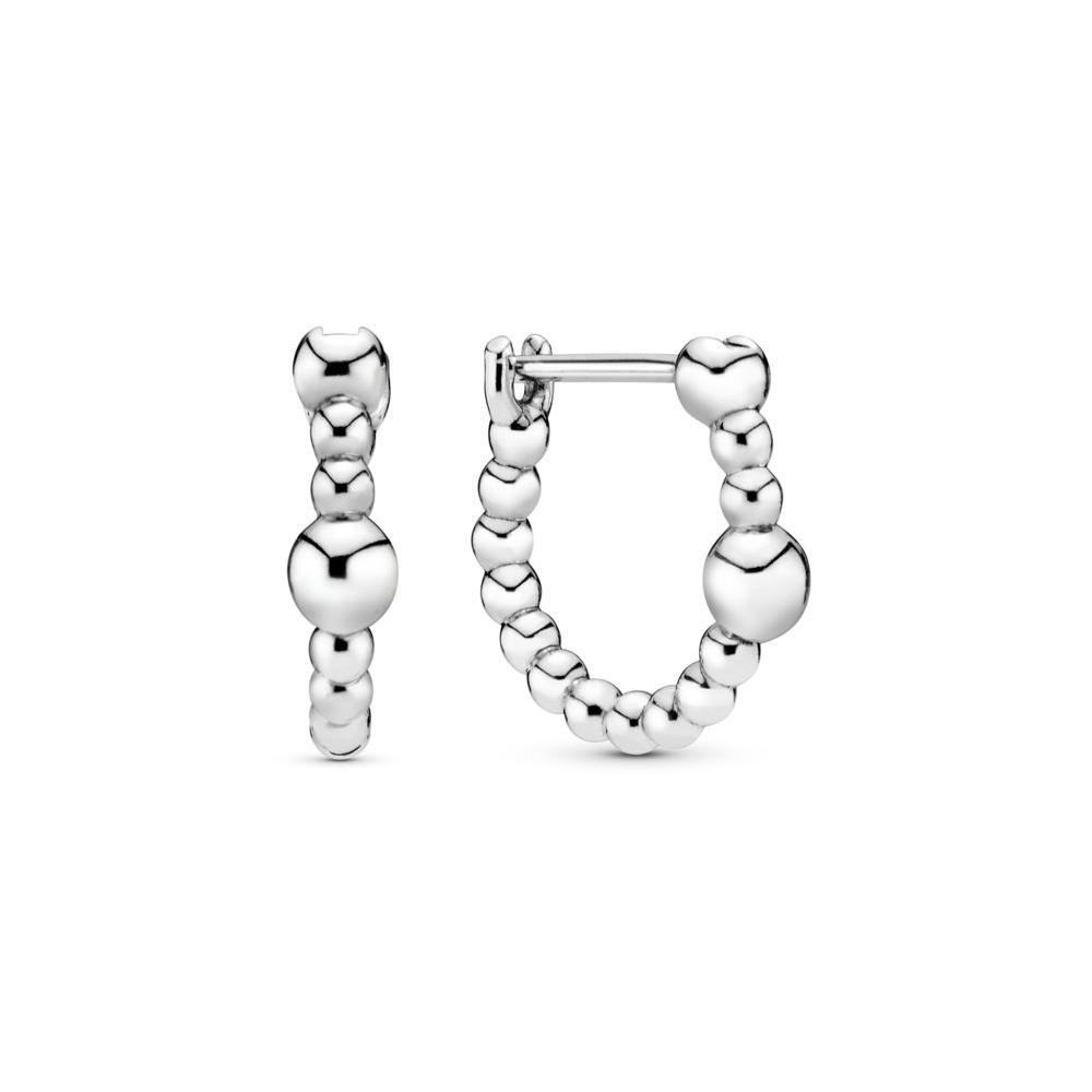 Boucles d'oreilles en anneau Fil de billes, Argent sterling, Aucun autre matériel, Aucune couleur, Aucune pierre - PANDORA - #297532