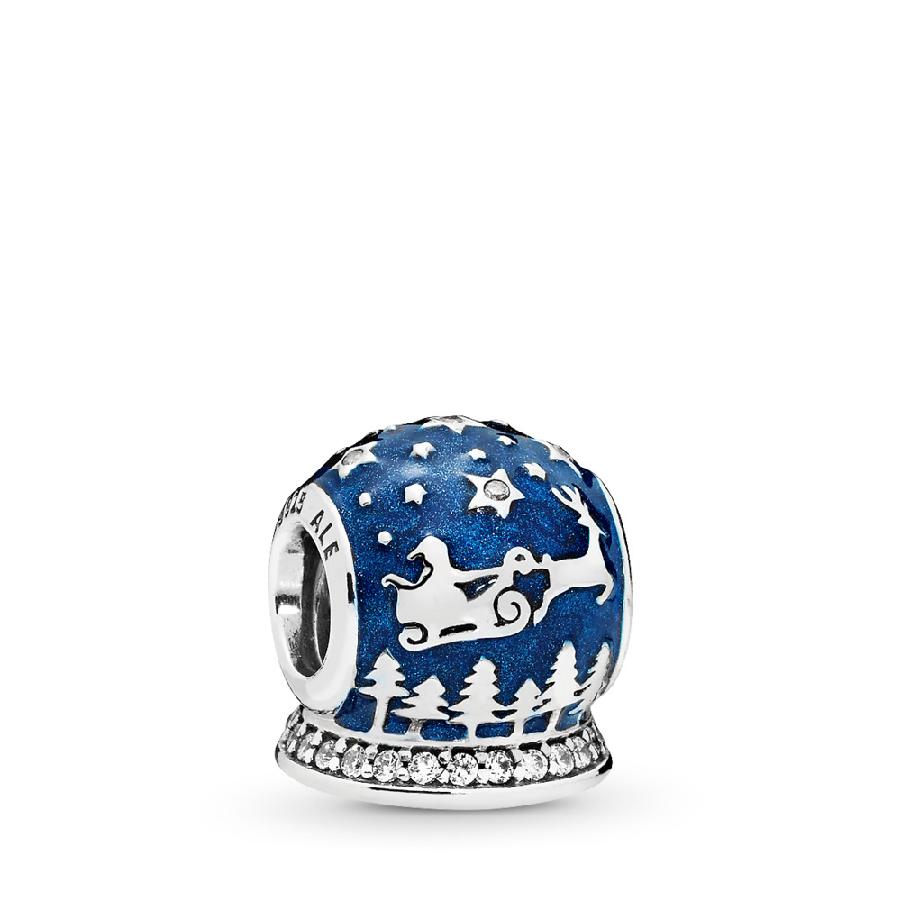 Christmas Night Charm, Midnight Blue Enamel & Clear CZ, Sterling silver, Enamel, Blue, Cubic Zirconia - PANDORA - #796386EN63