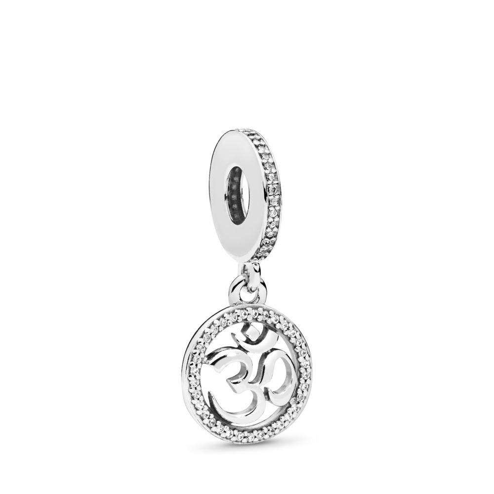Om Symbol Dangle Charm, Clear CZ, Sterling silver, Cubic Zirconia - PANDORA - #797584CZ