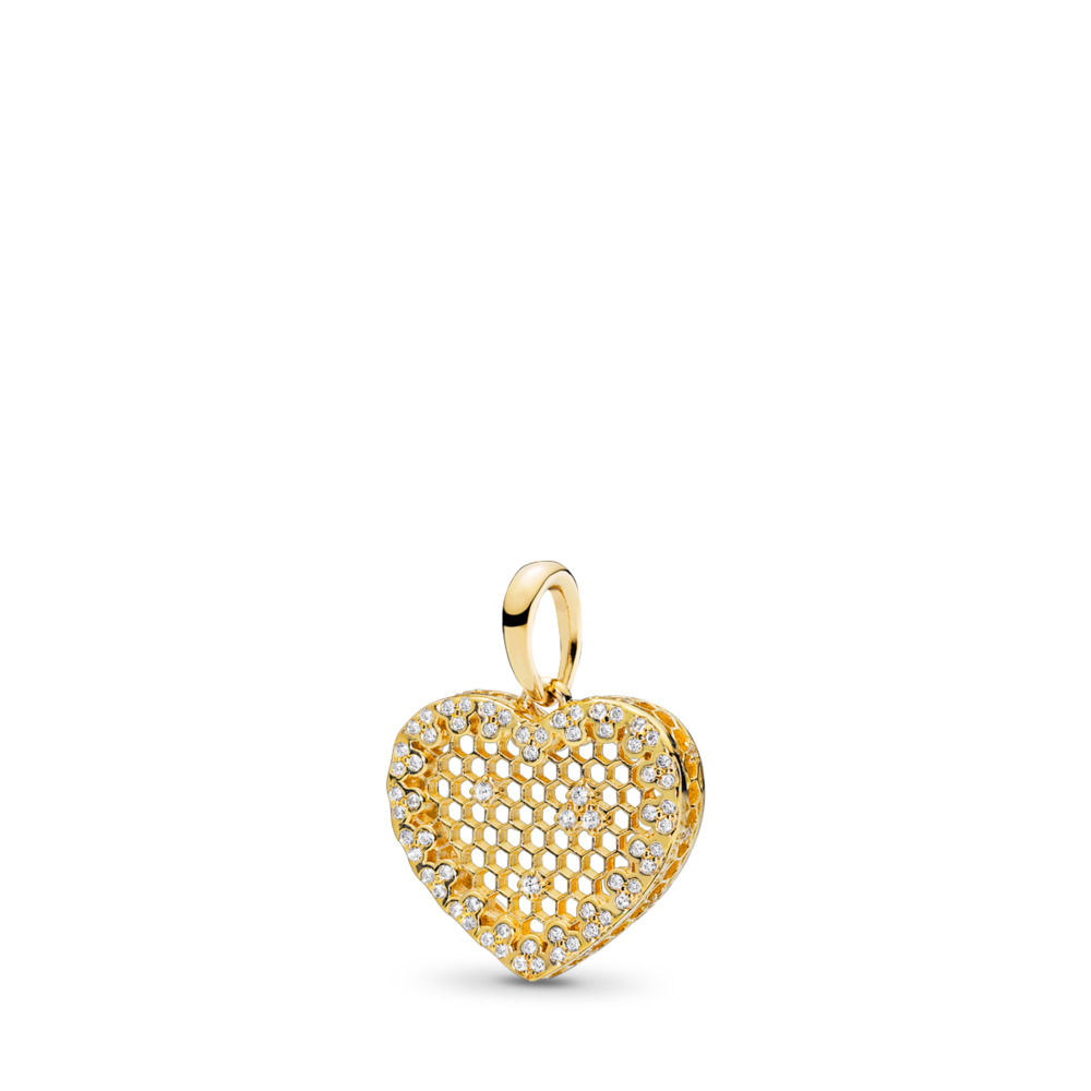 Honeycomb Lace Pendant, PANDORA Shine™ & Clear CZ, 18ct gold-plated sterling silver, Cubic Zirconia - PANDORA - #367111CZ