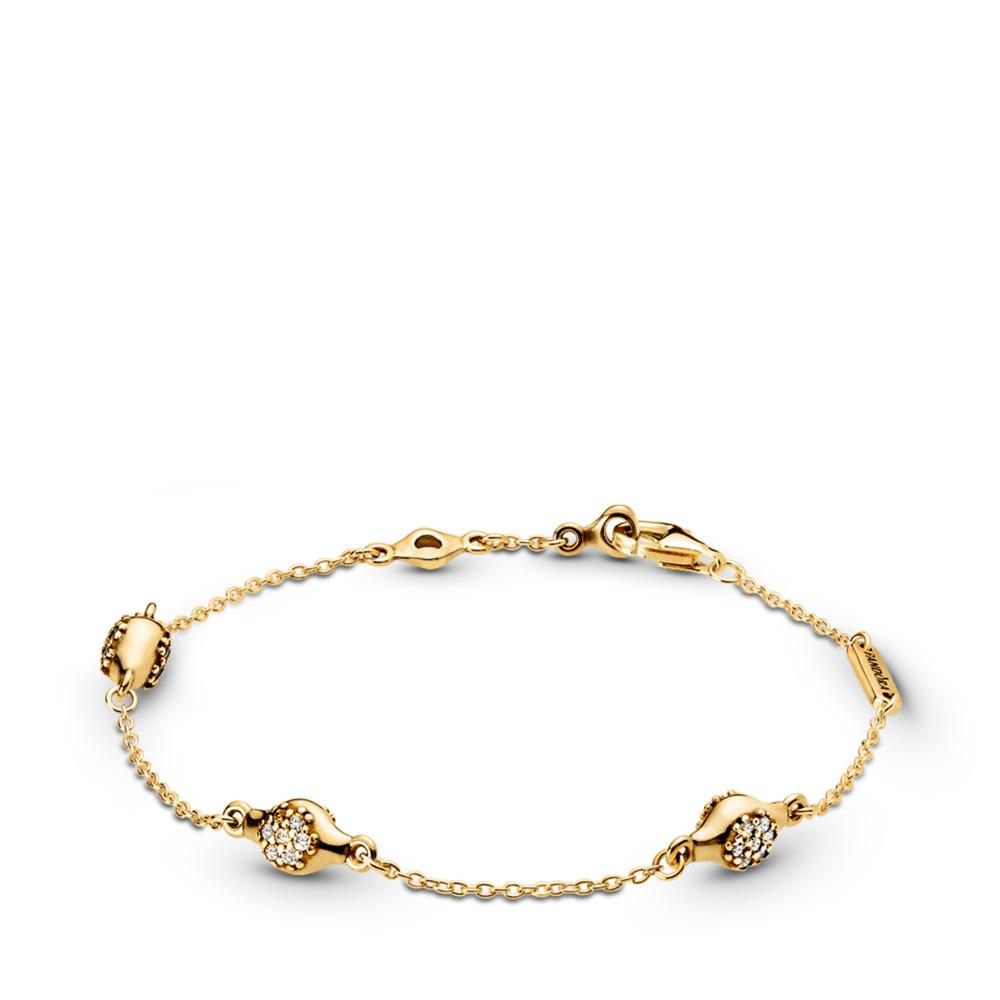 Bracelet en PANDORA Shine ModernLovePods, cz incolore, Or Plaqué 18ct, Aucun autre matériel, Aucune couleur, Zircon cubique - PANDORA - #567354CZ