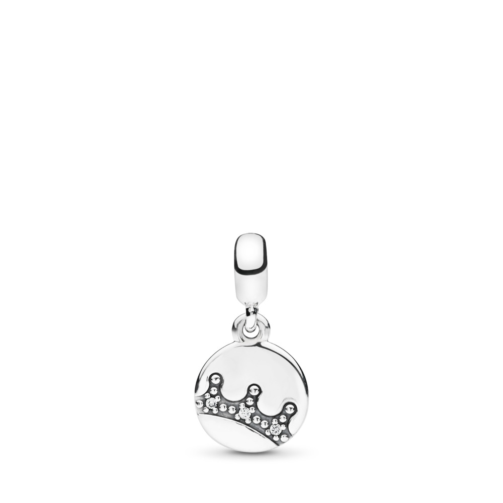 Dazzling Crown ESSENCE Dangle Charm, Clear CZ, Sterling silver, Cubic Zirconia - PANDORA - #797624CZ