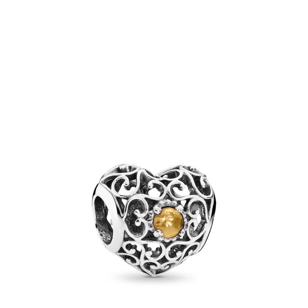 November Signature Heart, Citrine, Sterling silver, Yellow, Citrine - PANDORA - #791784CI