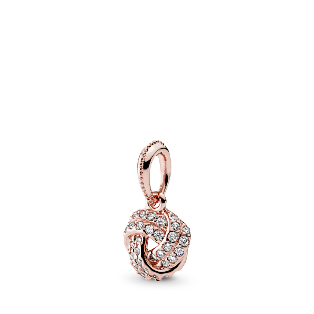 Sparkling Love Knot, PANDORA Rose™ & Clear CZ, PANDORA Rose, Cubic Zirconia - PANDORA - #380385CZ