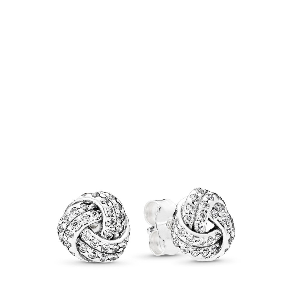 Sparkling Love Knot, Clear CZ, Sterling silver, Cubic Zirconia - PANDORA - #290696CZ