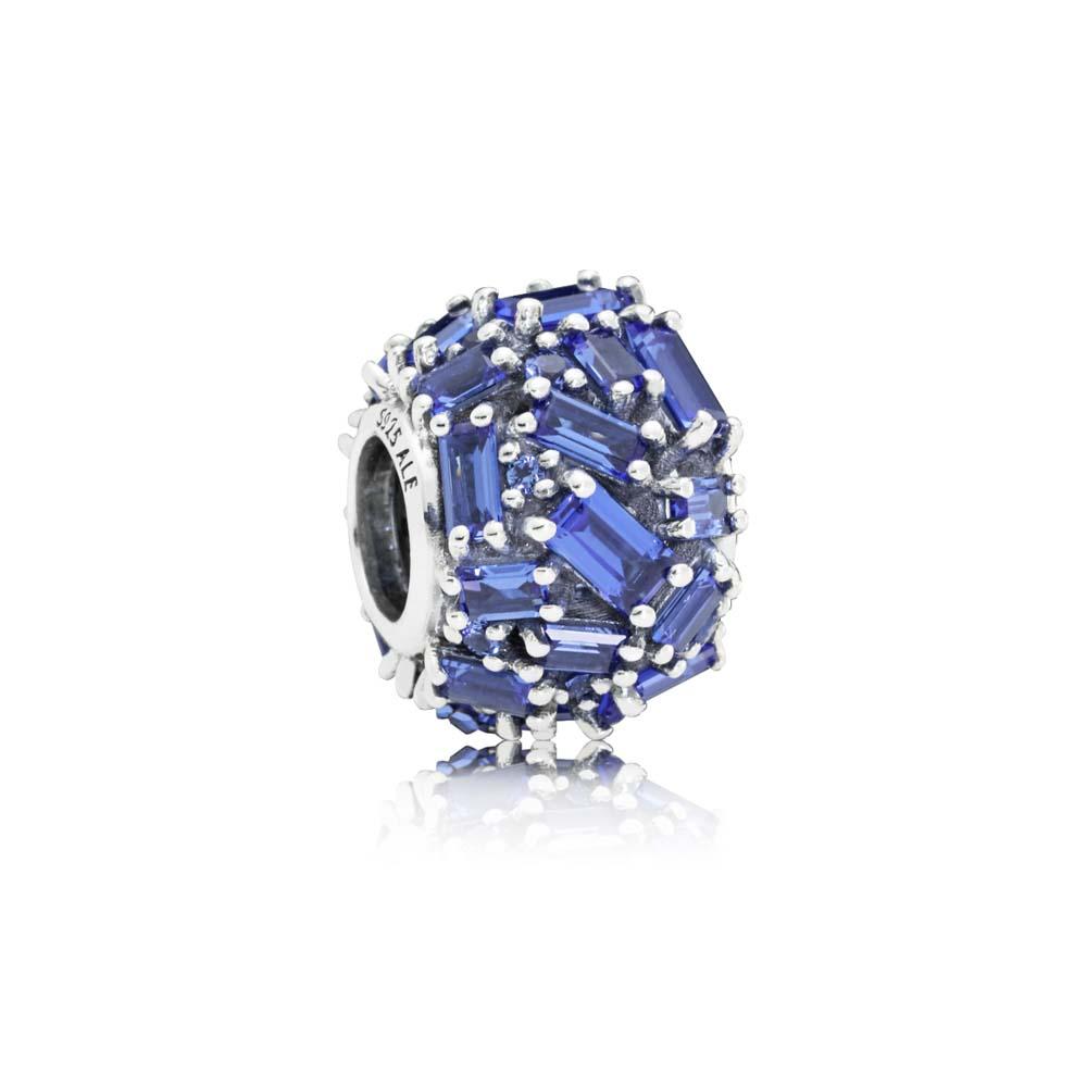 Chiselled Elegance Blue CZ Charm