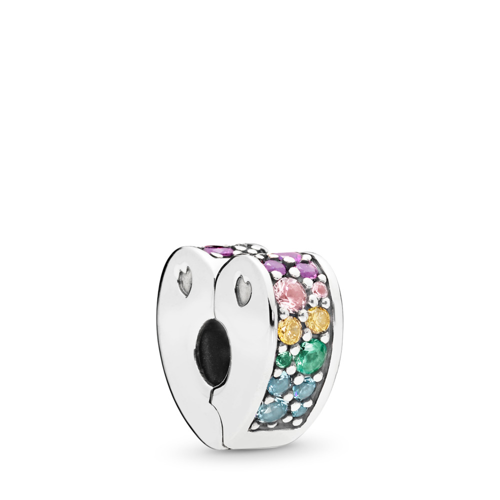 Multi-Coloured Arc of Love Clip, Multi-coloured CZ & Crystals, Sterling silver, Silicone, Blue, Mixed stones - PANDORA - #797020NRPMX