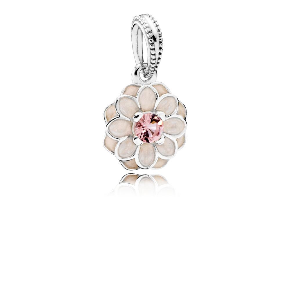 Dahlia en fleurs, émail ivoire et cristal blush, Argent sterling, émail, Beige, Cristal - PANDORA - #791829NBP