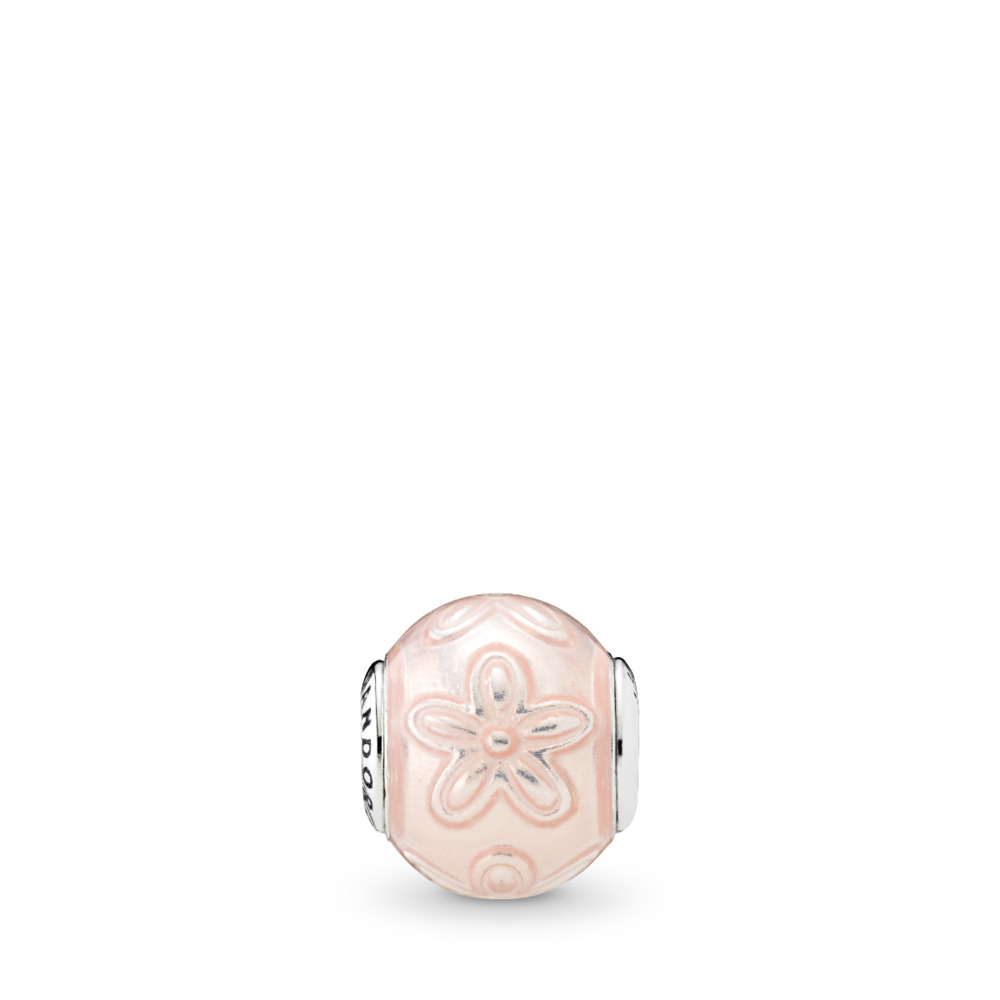 HAPPINESS, Transparent Cream Pink Enamel, Sterling silver, Mixed Material, Pink - PANDORA - #796087EN141