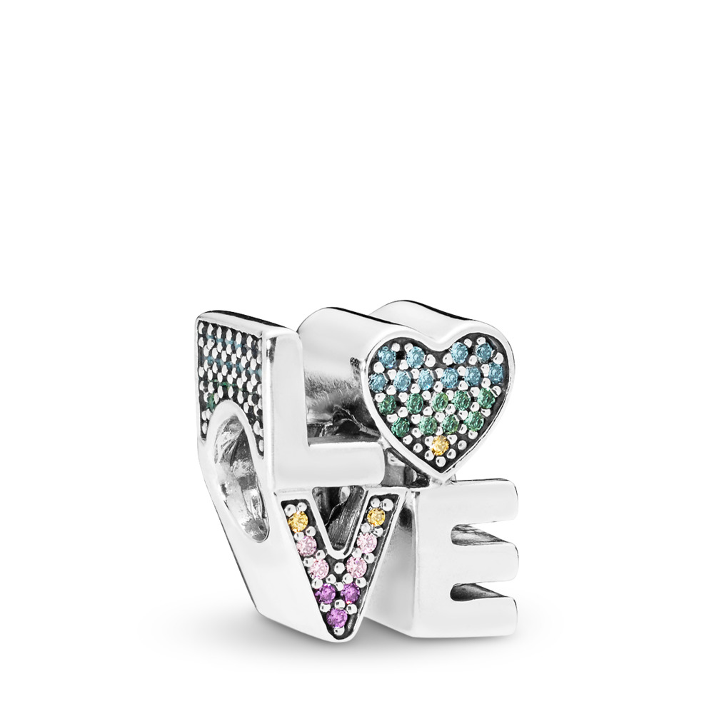 Multi-colour Love Charm, Multi-coloured CZ, Sterling silver, Blue, Mixed stones - PANDORA - #797189NRPMX