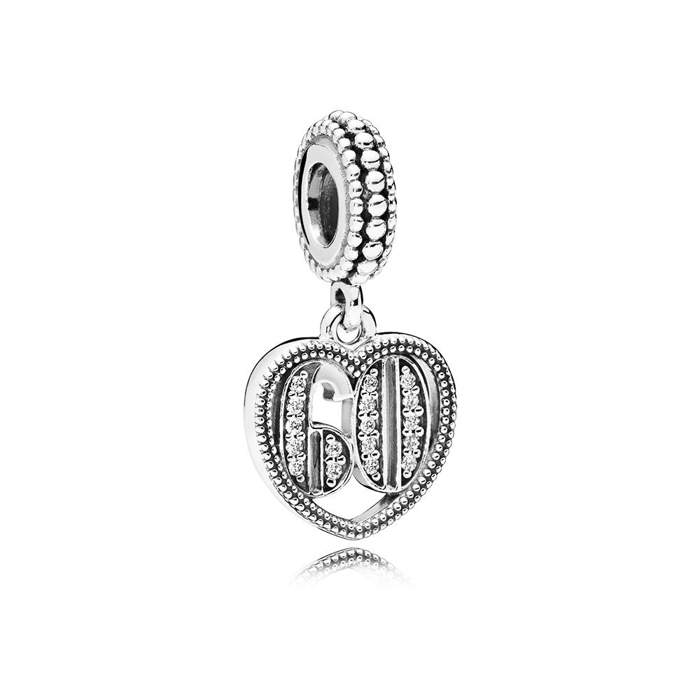 Charm pendentif 60ans d'amour, cz incolore