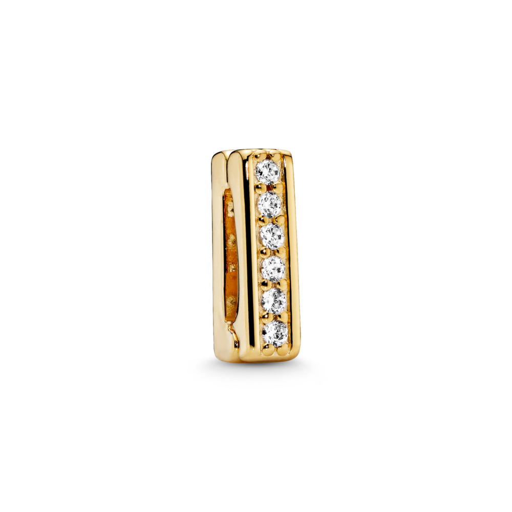PANDORA Reflexions™ Timeless Sparkle Charm, PANDORA Shine™ & Clear CZ, 18ct gold-plated sterling silver, Silicone, Cubic Zirconia - PANDORA - #767633CZ