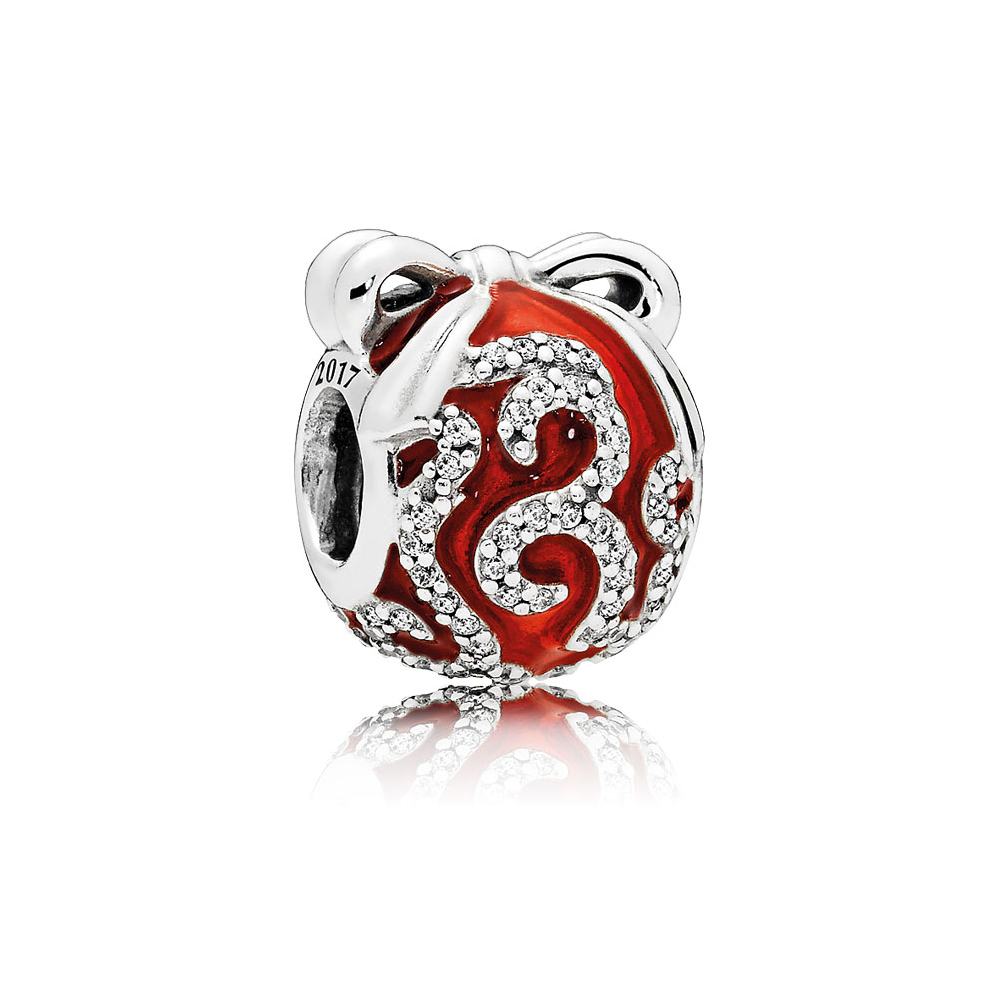 Limited Edition Bright Ornament Charm, Sterling Silver, Enamel, Red, Cubic Zirconia - PANDORA - #B800642