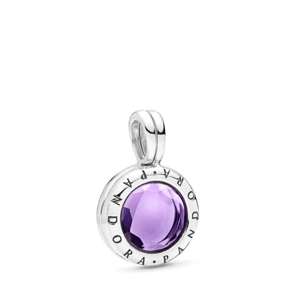 Limited Edition PANDORA Faceted Floating Locket Dangle Charm, Synthetic Amethyst, Sterling silver, Purple, Synthetic Amethyst - PANDORA - #797662SAM
