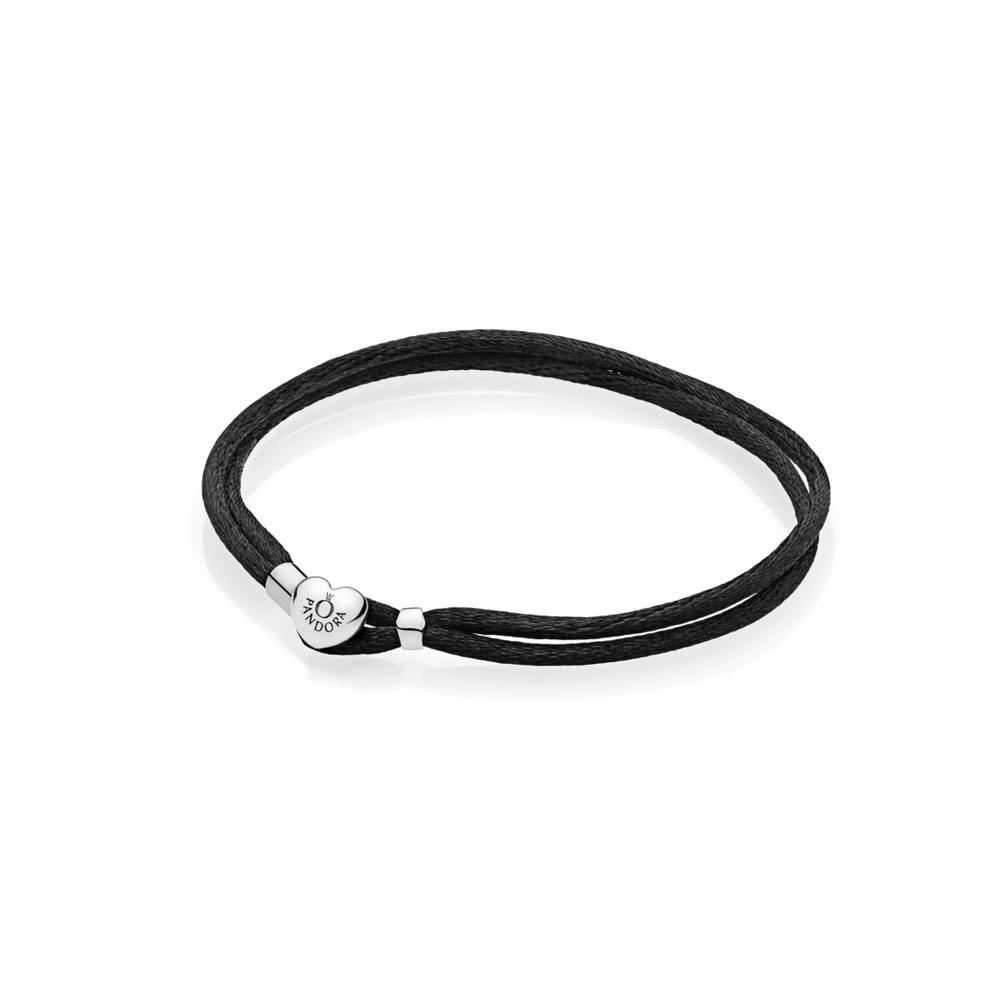 Bracelet-cordonnet en tissu, noir, Argent sterling, Textile/ fibres synthétiques, Aucune pierre - PANDORA - #590749CBK-S